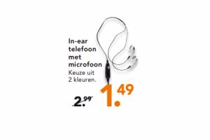 in ear telefoon met microfoon