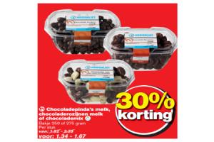 chocoladepindas melk chocoladerozijnen melk of chocolademix