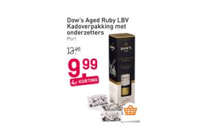dows aged ruby lbv kadoverpakking met onderzetters