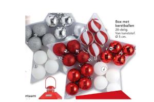 box met kerstballen
