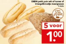 deen petit pain wit of tarwe of triangelbroodje meergranen