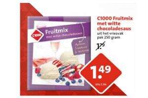 fruitmix met witte chocoladesaus
