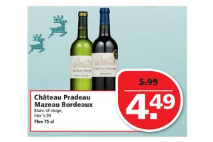 chateau pradeau mazeau bordeaux blanc of rouge fles 75 cl