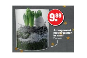 arrangement met hyacinten in vaas