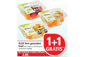 plus vers gesneden fruit nu 1plus1 gratis