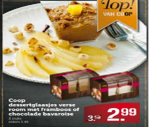 coop dessertglaasjes verse room met framboos of chocolade bavaroise