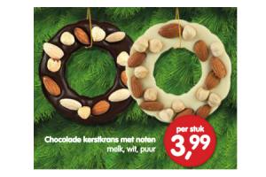 chocolade kerstkrans met noten