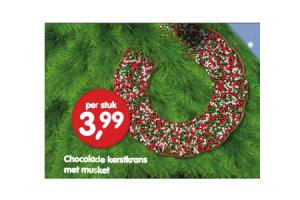 chocolade kerstkrans met musket