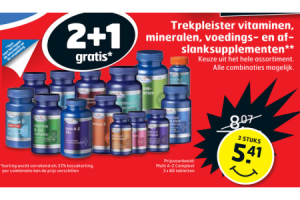 trekpleister vitaminen mineralen voedings  en af slanksupplementen 2plus1 gratis