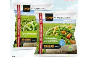coop sperziebonen tuinerwten of tuinerwten met wortelen