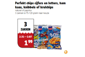 perfekt chips cijfers en letters ham kaas knibbels of krulchips