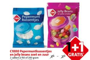 pepermuntkussentjes en jelly beans zout en zuur