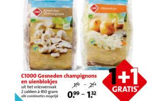 gesneden champignons en uienblokjes