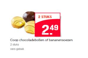 coop chocoladdebollen of bananensoezen 2 stuks