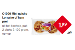 c1000 mini quiche lorraine of ham prei