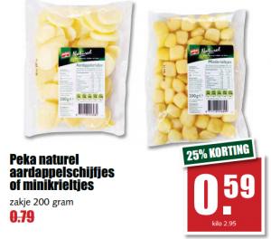 aardappelkrieltjes of schijfjes naturel