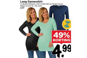 lang damesshirt
