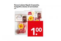 fiorucci salame napoli of pancetta campofrio chorizo of serranoham