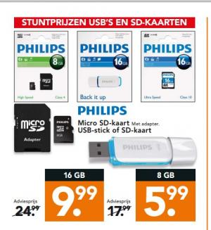 philips micro sd kaart met adapter usb stick of sd kaart.