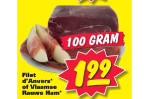 filet danvers of vlaamse rauwe ham