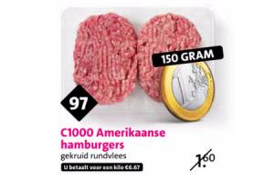 c1000 amerikaanse hamburgers