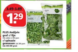 plus andijvie grof of fijn of spinazie gewassen
