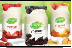campina yoghurt op fruit
