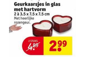 geurkaarsjes in glas met hartvorm