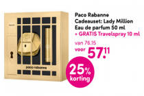 paco rabanne cadeauset lady million eau de parfum 50 ml plus gratis travelspray 10 ml
