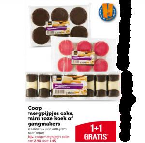 coop mergpijpjes cake mini roze koek of gangmakers