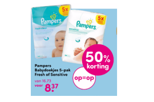 pampers babydoekjes 5 pak fresh of sensitive