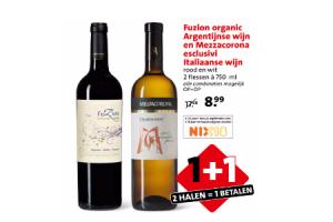 fuzion organica argentijnse wijn en mezzacorona escluvi italiaanse wijn
