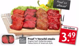 proef t verschil steaks