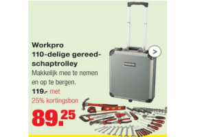 workpro 110 delige gereedschaptrolley