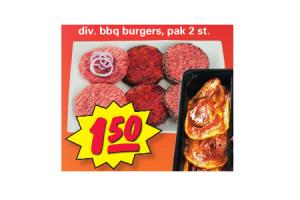 diverse bbq burgers