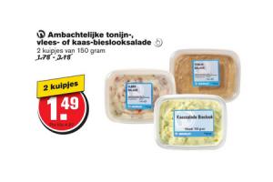 ambachtelijke tonijn  vlees  of kaas bieslooksalade