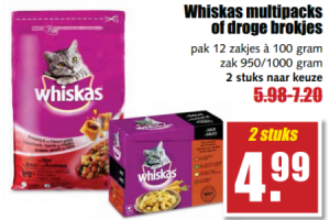 whiskas multipacks of droge brokjes