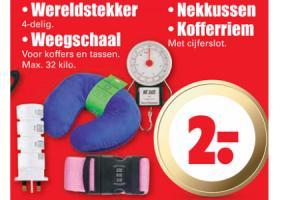 wereldstekker weegschaal nekkussen of kofferriem voor euro200