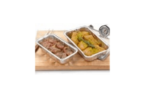 varkenshaas  of kalkoenmedaillons in ovenschaal
