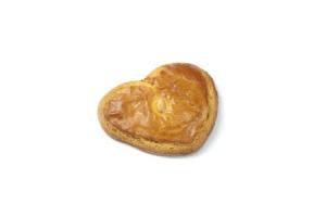 korengoud gevulde koek in hartvorm