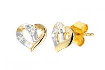 lucardi bicolor gouden oorbellen hart met diamant