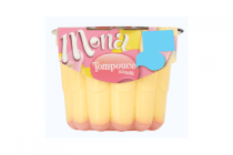 mona luchtige tompouce smaak pudding met roze glazuursaus