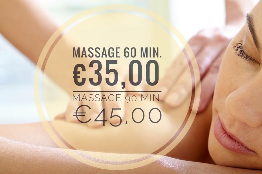Prijzen voor een massage.