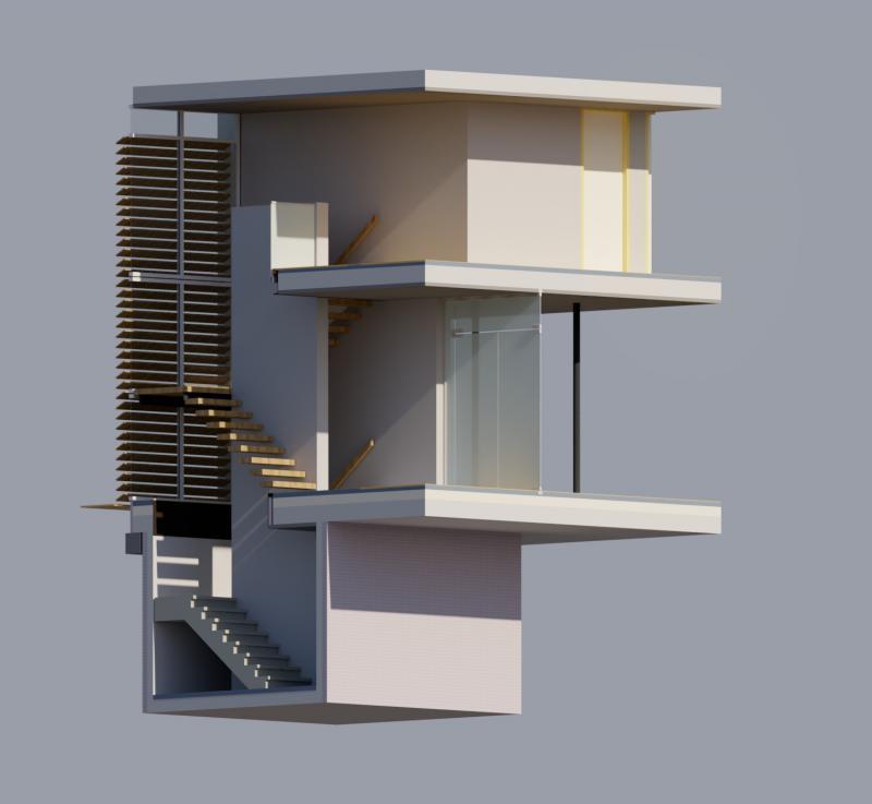 Munnikenweg, 3D trappenhuis, visualisatie YesMan Bouwadvies