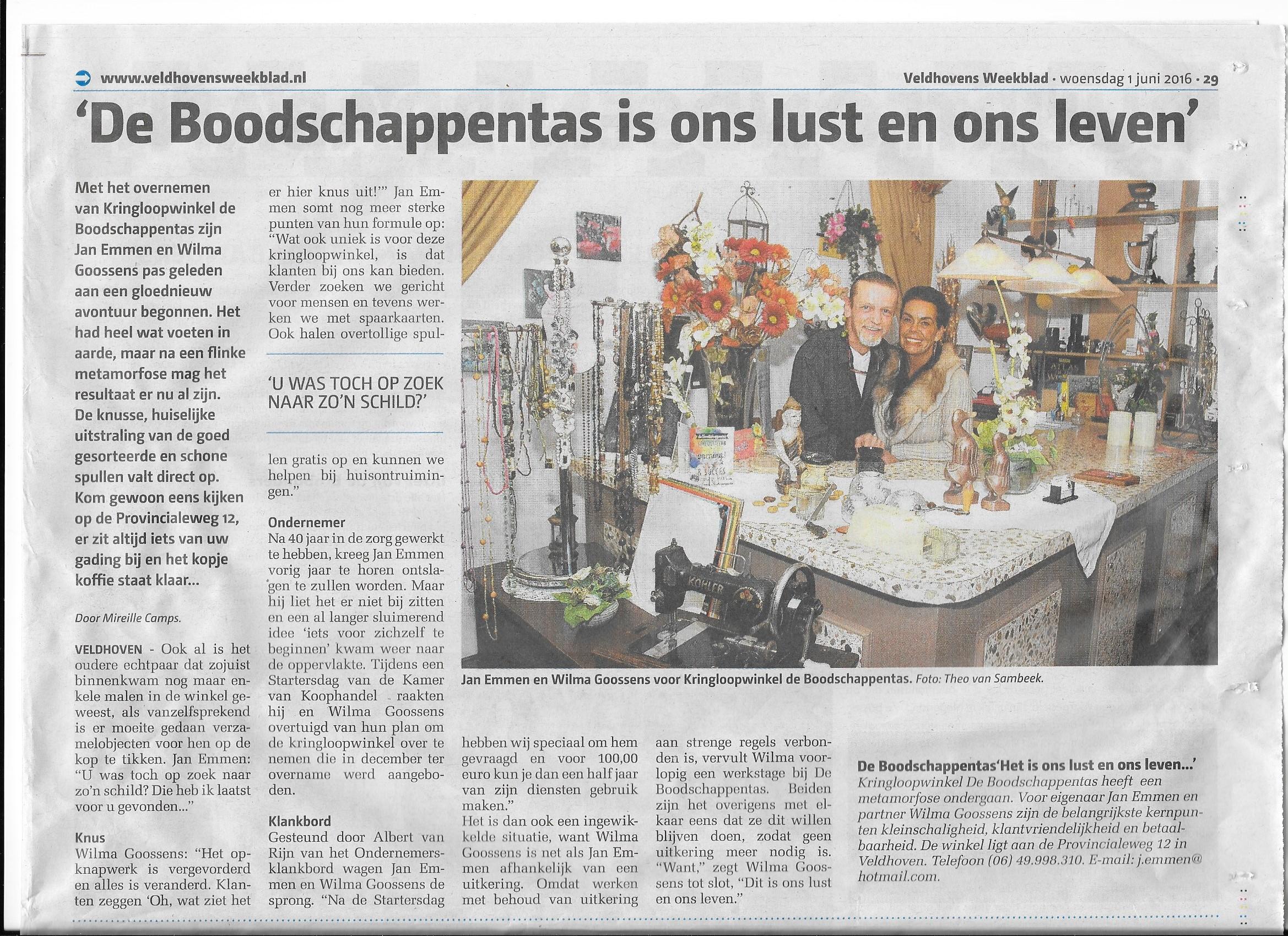 Met gepaste trots, het artikel in het Veldhovens weekblad van 1 juni