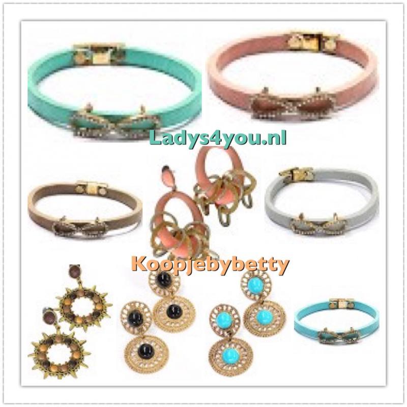 Prachtige lederen armbandjes , en luxe oorbellen , ladys4you.nl