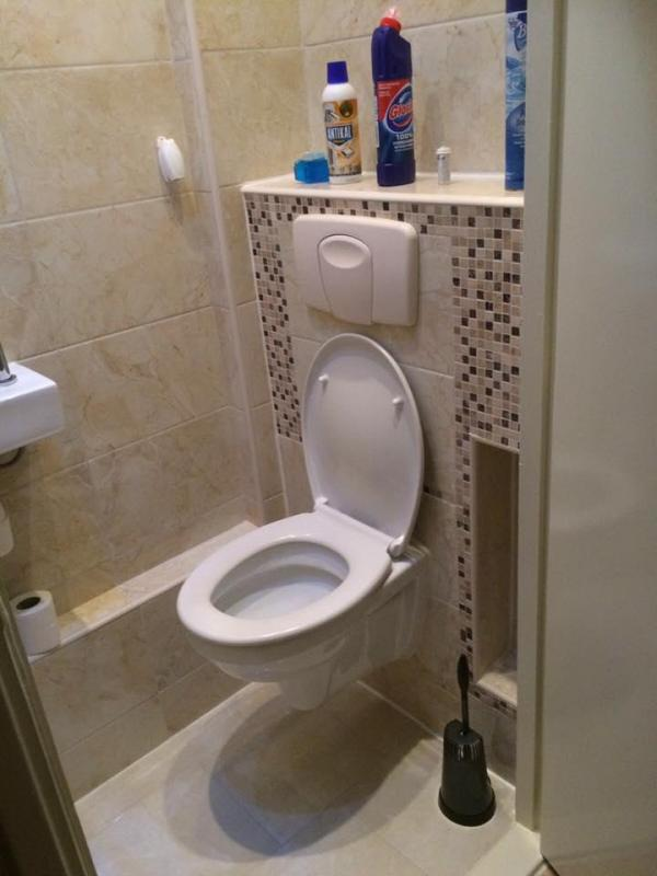 Complete toiletrenovatie met afgewerkte mozaïek en ingebouwde WC-rol vak. Een pr