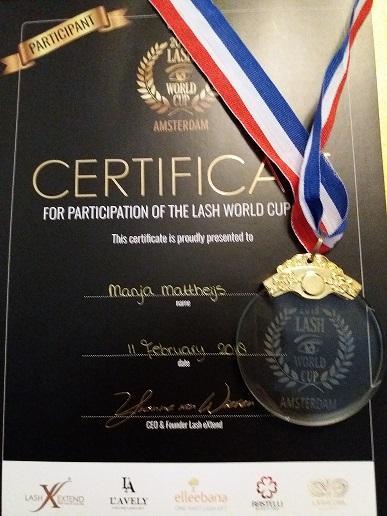 Medaille en Certificate WK Lash championship 2018