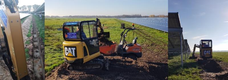 project zonnepark Oosterwolde, sleuven graven voor kabels en de afwerking
