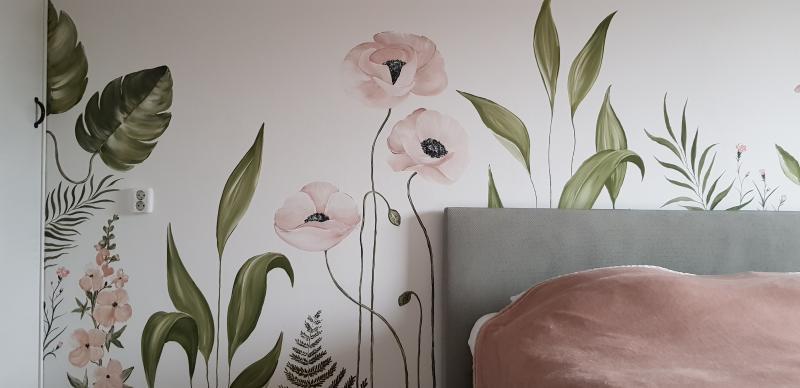 muurschildering bloemenwand